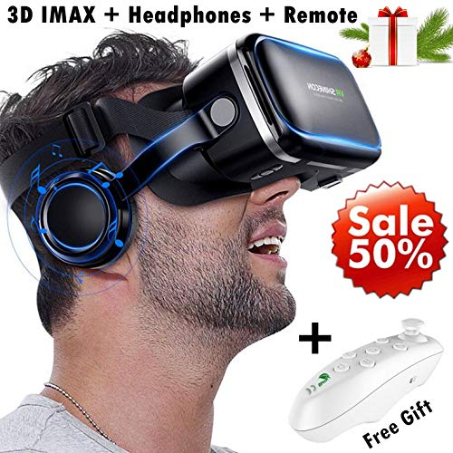 3D VR Goggle Virtual Reality Headset w/Over Ear Headphone for iPhone 11 Pro X S R 10 8 7 6 Plus, Samsung Galaxy S10 E S9 S8 S7 S6 Edge A/J 10e 7 6+ 2 Note 5 4, LG BLU iOS & Android Smartphone, Black