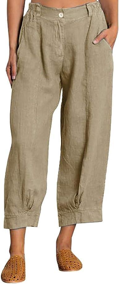 cinnamou Pantalones Mujer, Pantalones De Lino Y Algodon Tallas ...