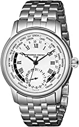 Frederique Constant Men's FC718MC4H6B World Timer Stainless Steel Watch with Link Bracelet