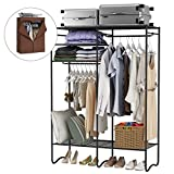 LANGRIA Extra-Large Heavy-Duty Zip up Closet Shoe Organizer Detachable Brown Cloth Cover Wardrobe Metal Storage Clothes Rack Armoire 4 Shelves 2 Hanging Rods Max Load 463 lbs.