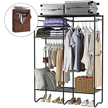 Amazon Com Seville Classics 14 Quot Deep Heavy Duty Steel Wire Expandable Closet Organizer Bedroom Space Saving Free Standing Cloth Rack