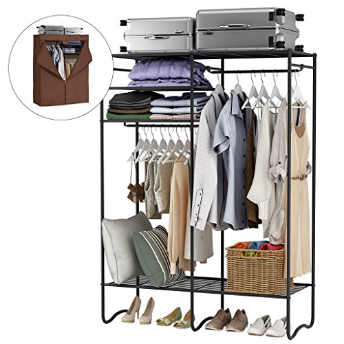 LANGRIA Extra-Large Heavy-Duty Zip Up Closet Shoe Organizer with Detachable Brown Cloth Cover Wardrobe Metal Storage Clothes Rack Armoire with 4 Shelves and 2 Hanging Rods Max Load 463 lbs. ()