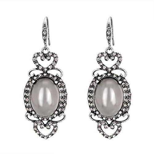 Alonea Zircon Drop Earrings, Women Fashion Zircon Earrings Diamond-encrusted Love Heart Earring Ear Studs Vintage (Gray❤️)
