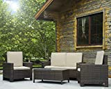 ANA Store Black Wicker Yard Upholstered Seat Set of 4 Pcs Rectangle Body Tempered Glass Top Bar Sofa Side Table with Mattress Lounge 2 Backrest Ottoman 4 Piece Stylish Rattan Outdoor Chat Seating