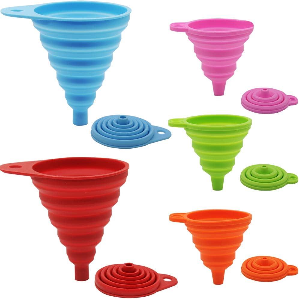 JEZOMONY Juego de Embudo Plegable de Silicona, Embalaje Plegable Flexible de 5 Paquetes para la Cocina, Botella de Agua, líquido, Grande + pequeño