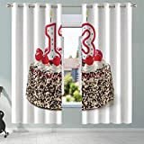 YOLIYANA 13th Birthday Decorations Printing Curtains,Cake with Numeral Candles and Cherries Yummy Desert for Party for Nursery School Home Hotel,108.3''W x 95.3''H