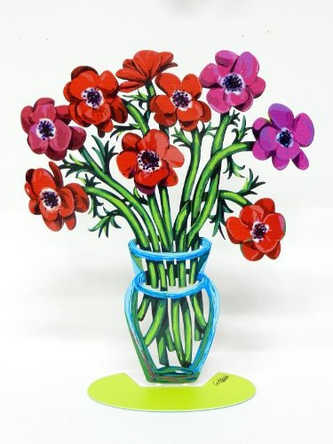 David Gerstein Metal Modern ART Sculpture Poppies / Anemones Flower Vase - Small (David Metal Vase)