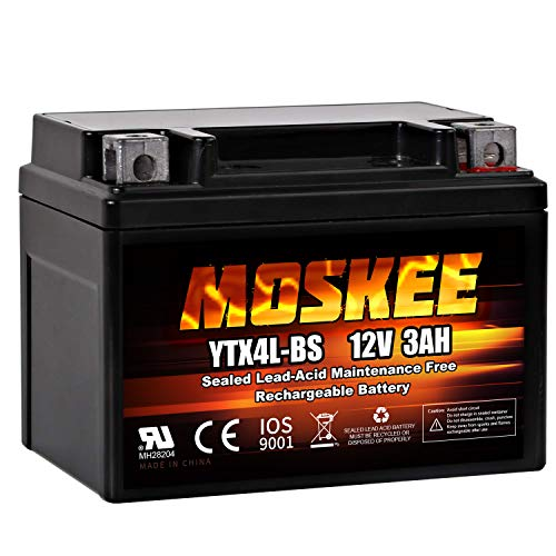 Moskee YTX4L-BS Motorcycle Battery High Performance - Maintenance Free - ETX4L BS Sealed AGM Power Sports battery for Scooter Snowmobile ATV