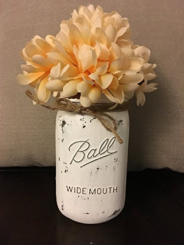 Distressed White Chalk Painted Wide Mouth Mason Jar Centerpiece (Size: Quart) (Jars Vases For Mason)