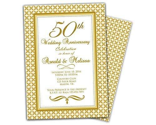 Amazon Com Gold 50th Wedding Anniversary Party Invitation Elegant