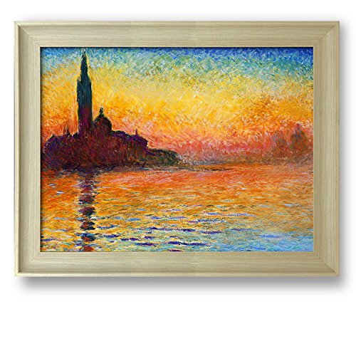 Framed Art San Giorgio Maggiore at Dusk by Claude Monet Famous Painting Wall Decor Natural Wood Finish Frame