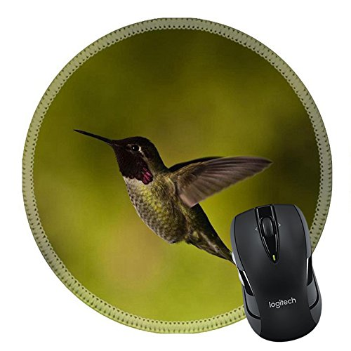 MSD Natural Rubber Mousepad Round Mouse Pad 20389323 Hummingbird and feeder Side view of hummingbird hovering next to a bird feeder