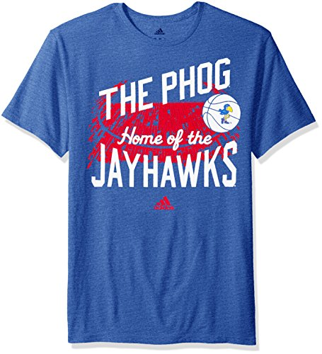 adidas NCAA Kansas Jayhawks Stadium Home Tri-Blend Short Sleeve Tee, Large, Collegiate Royal