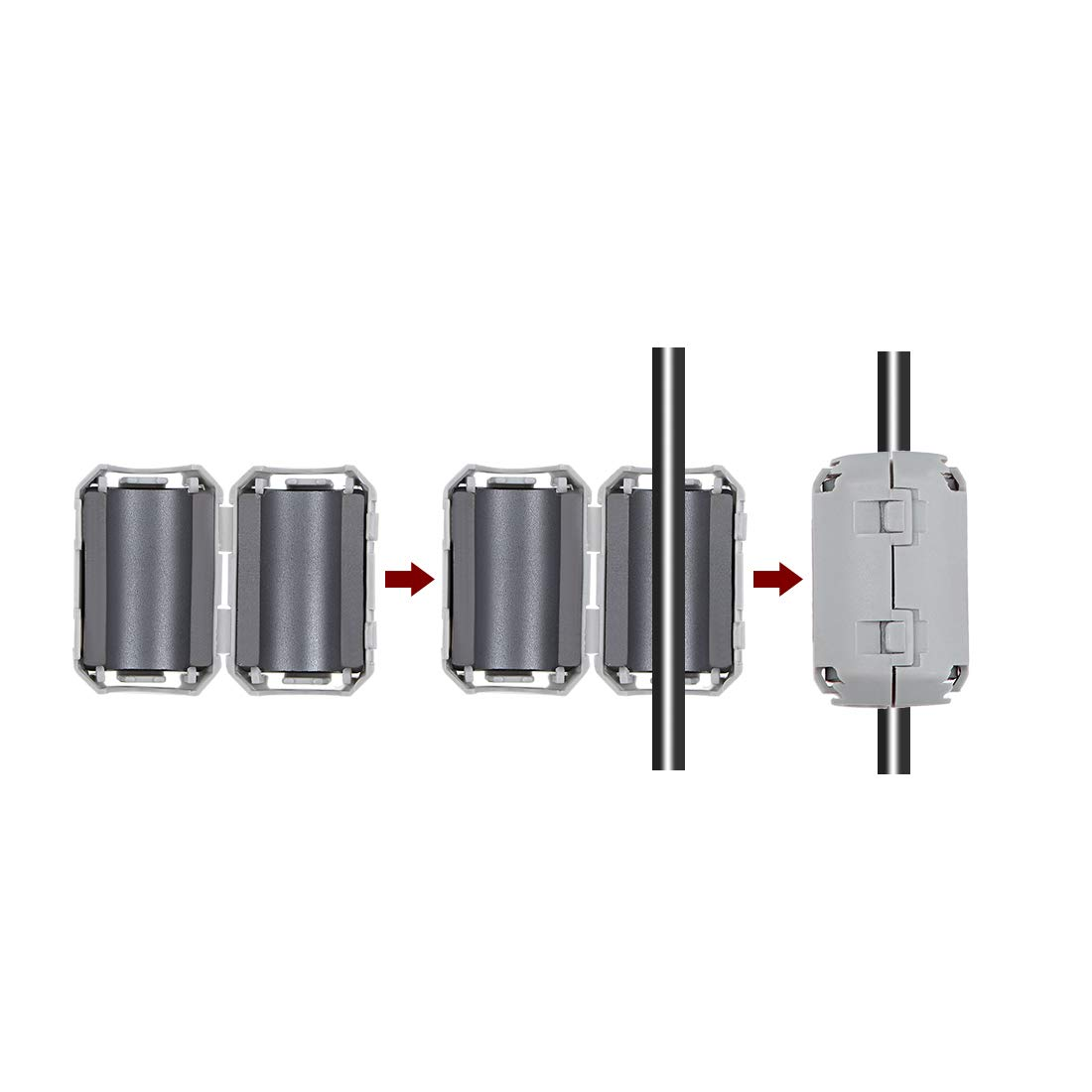 uxcell 7mm Ferrite Cores Ring Clip-On RFI EMI Noise Suppression Filter Cable Clip Black 5pcs
