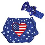 Petitebella America Heart Blue Stars Bloomer for Baby 3-12m (One Size)