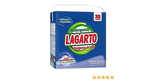 Lagarto Detergente en Polvo para Lavadora con OXIGENO ACTIVO, 30+5 Lavados. Paquete de 4 x 2660 gr - Total: 10640 gr: Amazon.es: Belleza