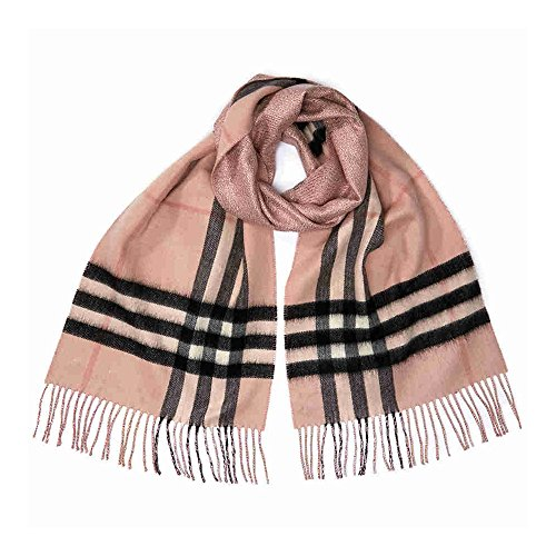 BURBERRY Reversible Metallic Check Cashmere Scarf - Ash Rose