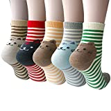 Pack of 5 Women Girls Fun Cats Cartoon Sweet Animal Pattern Cotton Crew Floor Socks, Style 1 One Size