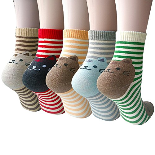 Pack of 5 Women Girls Fun Cats Cartoon Sweet Animal Pattern Cotton Crew Floor Socks, Style 1 One (Animal Pattern)