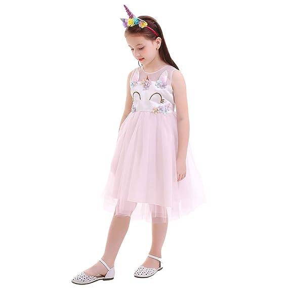 IBTOM CASTLE Vestito da Tutu per Unicorno Costume da Bambino per Ragazza  Ballo Fiore per Ricamo 08b1460d085