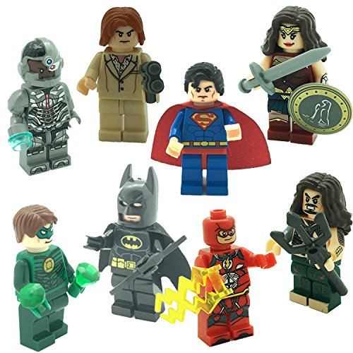 Super Heroes Figures, 8 Set Superheroes League Marvel & DC Minifigures include Hot Avenger -justice Characters Superman, Batman, Wonder Women, Aquaman, Cyborg, The Flush and more Interlocking Blocks