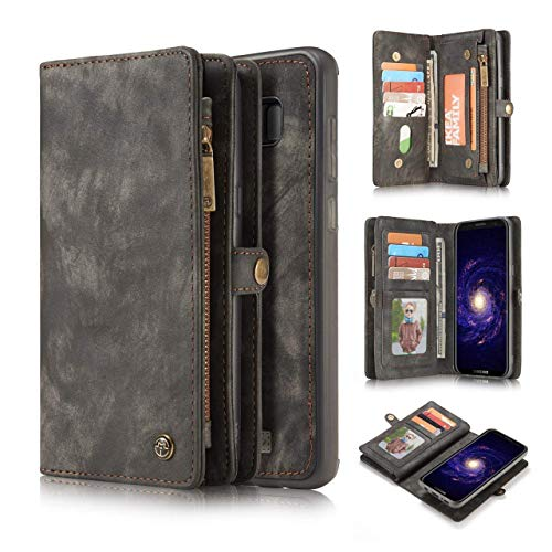 KONKY Caseme Samsung Galaxy S8 Plus Wallet Case, Magnetic Detachable Removable Phone Cover Pouch Folio Durable Leather Purse Flip Card Pockets Holder Bag Smooth Zipper - Black