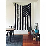 Popular Handicrafts American Flag Intricate Floral Design Indian Bedspread Magical Thinking Tapestry 54x84 Inches,(140x210cms) Black & White