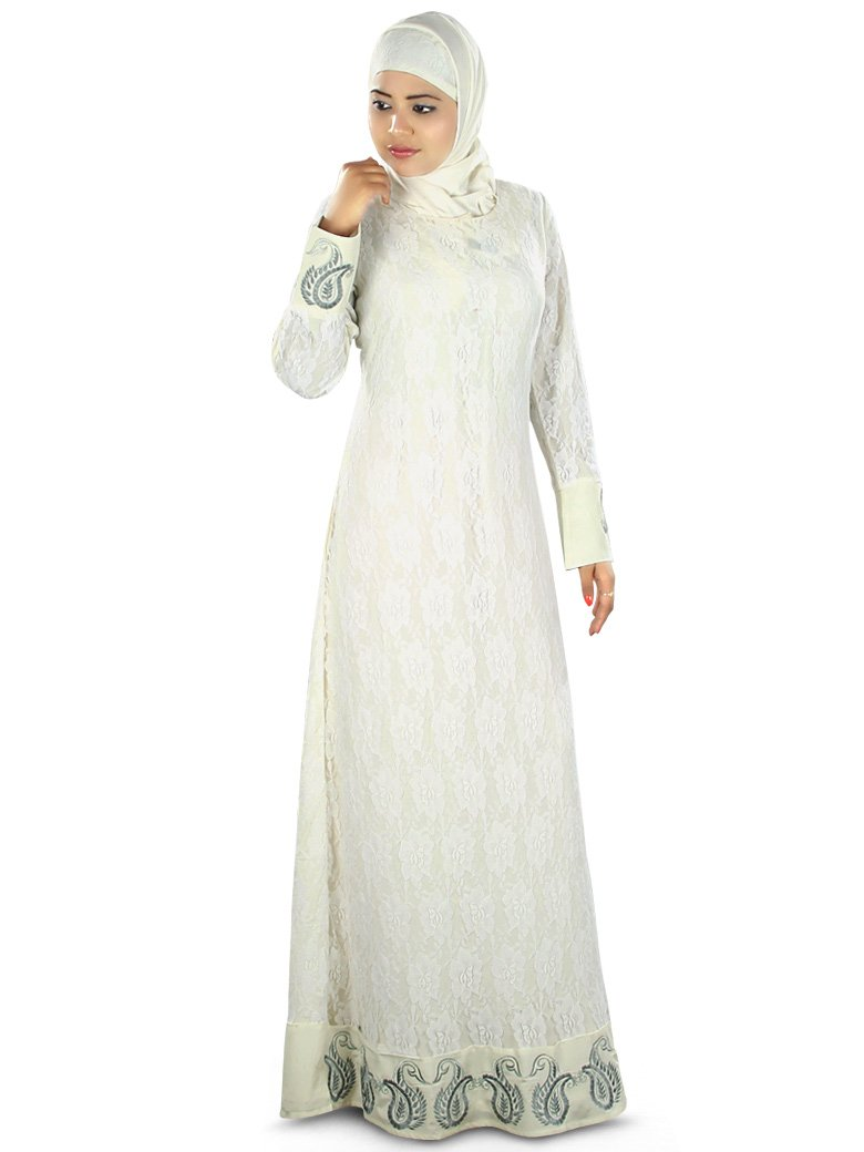 MyBatua Women's Beautiful Designer Abaya Color in Off White (Small)