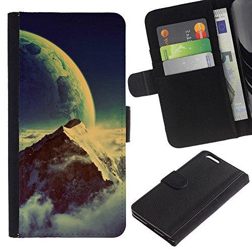 Funny Phone Case // Cuir Portefeuille Housse de protection Étui Leather Wallet Protective Case pour Apple Iphone 6 PLUS 5.5 /Space Mountain/
