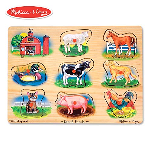 (Melissa & Doug Farm Sound Puzzle - Wooden Peg Puzzle With Sound Effects (8 pcs))