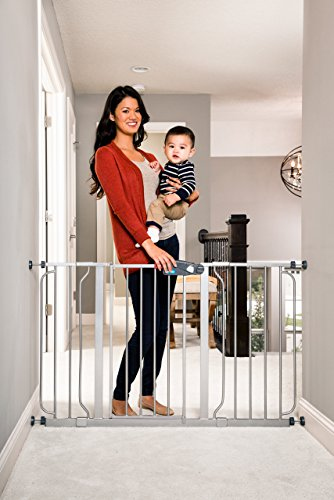 Regalo Easy Step 51-Inch Extra Wide Baby Gate, Includes 4-Inch and 12-Inch Extension Kit, 4 Pack of Pressure Mount Kit and 4 Pack of Wall Mount Kit, Platinum by Regalo (Image #1)