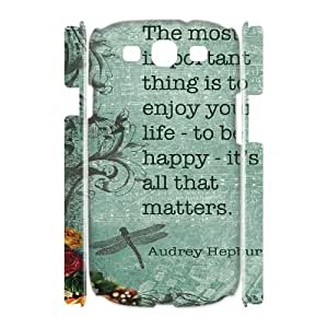Audrey Hepburn Quotes Customized 3D Cover Case for Samsung Galaxy S3 I9300,custom phone case ygtg-780258