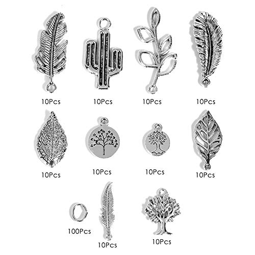 (Jewelry Finding Charms for Women - 100 Pcs Charm Accessories for Girl Jewelry, for DIY Necklace, Bracelet, Earring, Gift Sister, Mom (Cactus&Tree of Life))