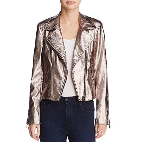 ([BLANKNYC] Blank NYC Womens Metallic Faux Leather Moto Coat Gold XS )