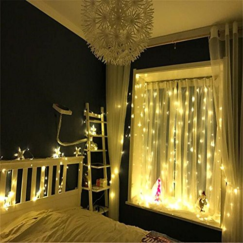 DLIUZ UL Safe 304 LED 9.8Feet Connectable Curtain Lights Icicle Lights Fairy String Lights with 8 Modes for Wedding Party Family Patio Lawn Decoration by DLIUZ (Image #2)