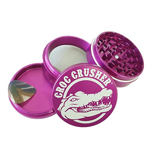 Croc Crusher Grinders - 4 Piece Spice Herb Grinder with Pollen Catcher, Large 2.5-Inch - Miu Chicago Miu