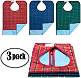 profpuro Bibs for Adults Senior Citizens - Adult Bibs for Eating - Clothing Protector - Reusable Waterproof Machine Washable - Crumb Catcher