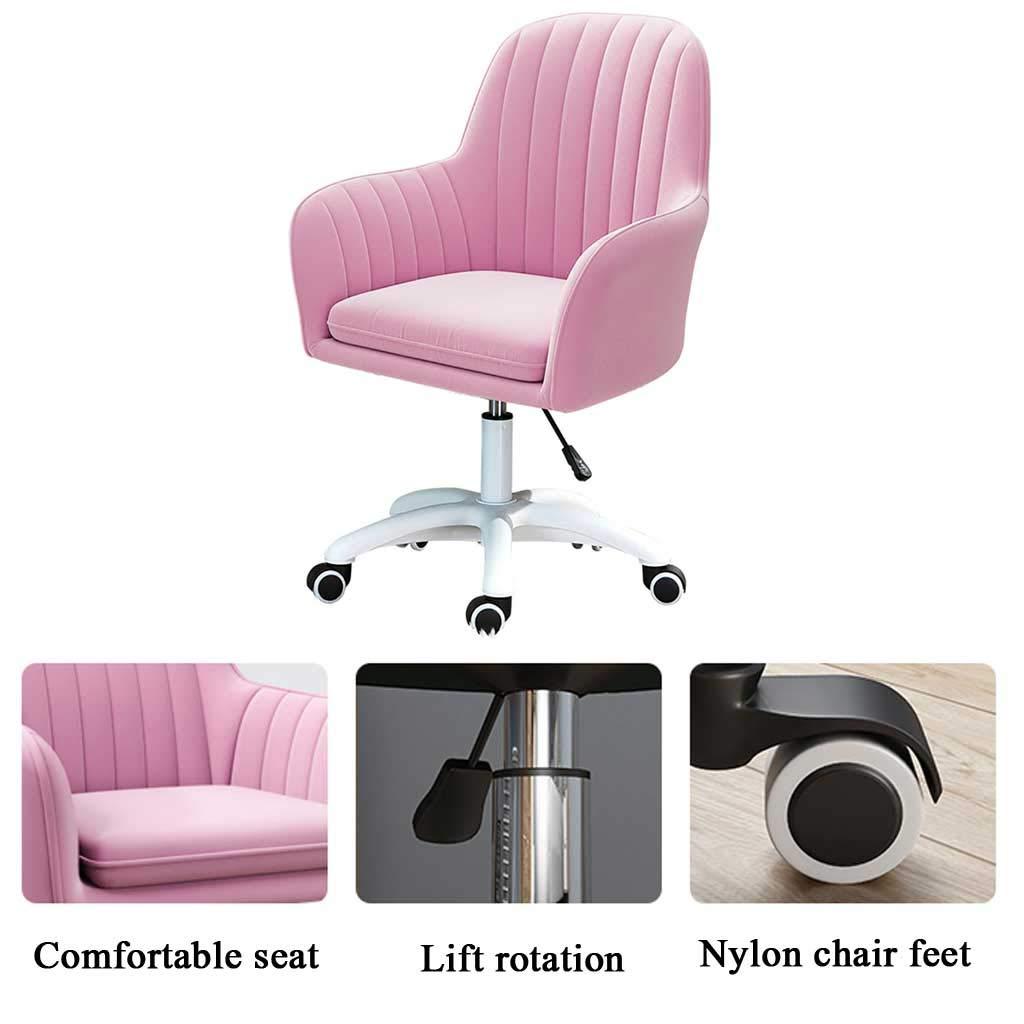 GAOPANG Kontor dator stol svängbar stol med armar sammet kudde höjd justerbar, sitthöjd: 42–52 cm Rosa