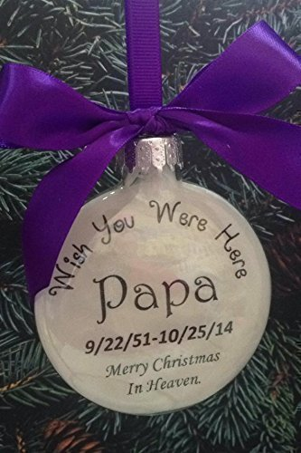 In Memory Memorial Ornament - Wish You Were Here Christmas in Heaven - Personalized Bereavement Gift