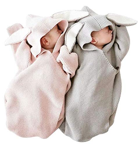 Newborn Baby 3D Rabbit Ear Knitted Swaddle Blanket
