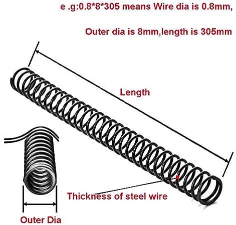 1PCS Molla in Acciaio Pressione della Molla Y-Tipo di Compressione della Molla Filo Dia 1,8 Millimetri Diam 10-20mm Lunghezza 305 Millimetri NO LOGO F-Jiujin Taglia : 1.8x20x305mm