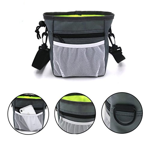 Dog Treat Training Pouch Bag with Adjustable Strap, Pet Training Treat Bag Snack Pouch with Clip, -Easily Carries Pet Toys, Kibble, Treats, 3 Ways To Wear by Chrasy