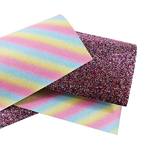 David Angel Double Side Rainow Strips Glitter Synthetic Leather 3 Pcs 8