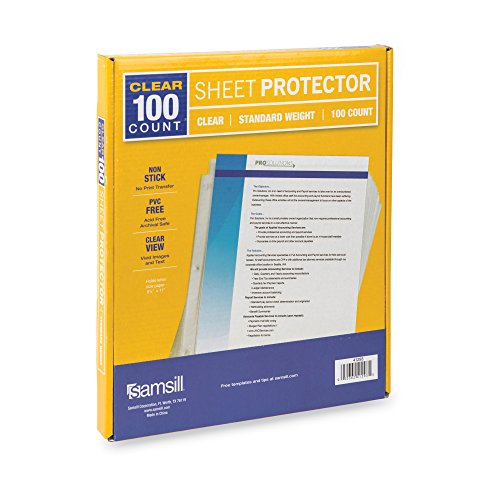Archival Polypropylene Sleeves (Samsill Standard Weight Clear Poly Sheet Protectors, Box of 100, Acid Free & Archival Safe, Top Loading, Letter Size - 8.5 x 11)