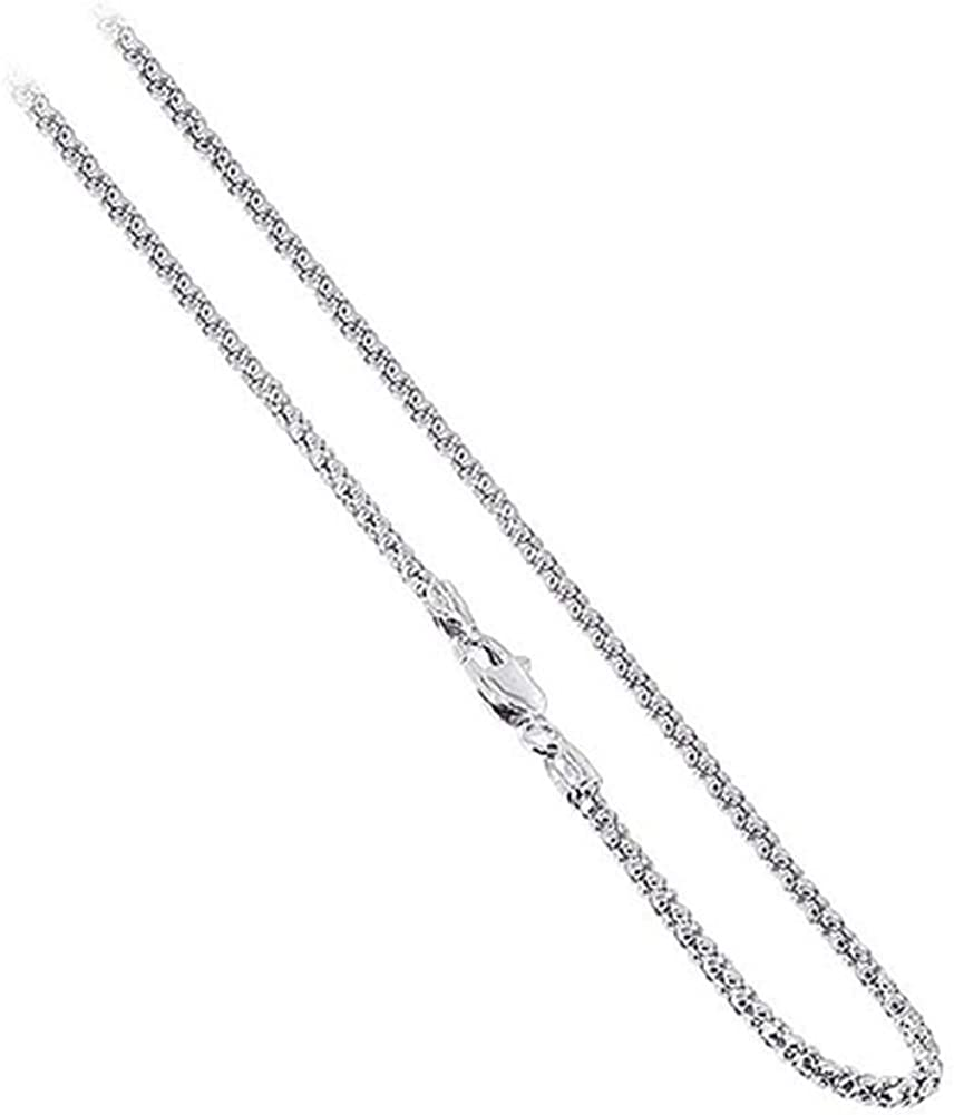 18K Gold over 925 Sterling Silver 2.5mm Italian Popcorn Chain Necklace All Sizes