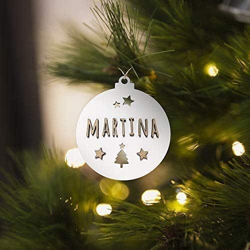 KARIVOO Bola para árbol de navidad personalizable con nombre, en color blanco y madera MDF