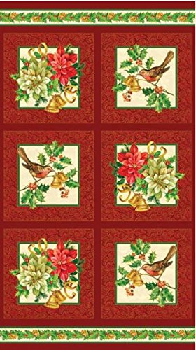 (Northcott 'A Christmas Story' Cranberry Red Cotton Panel)