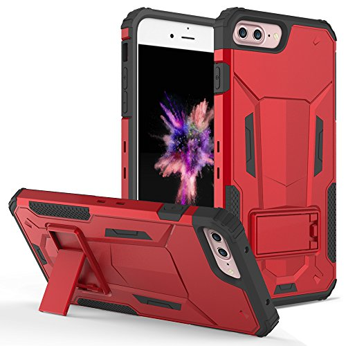 iPhone 8 Plus Case / iPhone 7 Plus Case - ZV [Hybrid Dual Layered] with [Built in Kickstand] Slim and Shockproof [UV Coated] Metallic PC