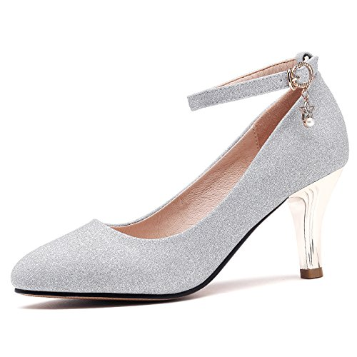 The Leather Heels 8Cm Ties High Light And Port Silver Wild Seasons Spring During HGTYU Small Shoes Women Shoes Shoes And Autumn qEXadxw