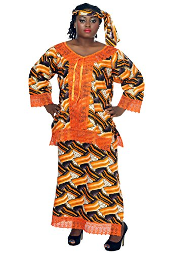 African Planet Women's Wax 3 Piece Suit Top Skirt and headwrap Ankara One Size by African Planet